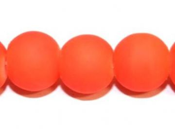 30pieces x 14mm orange colour rubber coated glass beads -- 3005515